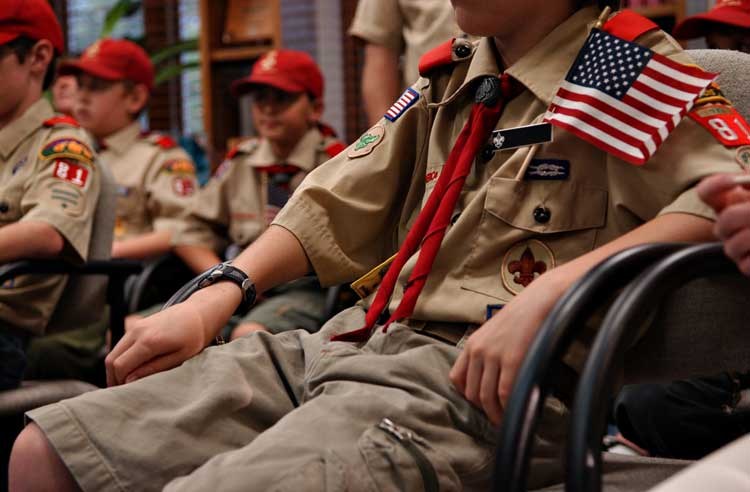 Shot of a boyscout uniform on a boy